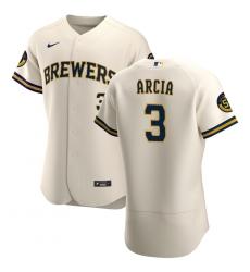Men Milwaukee Brewers 3 Orlando Arcia Men Nike Cream Home 2020 Flex Base Player MLB Jersey