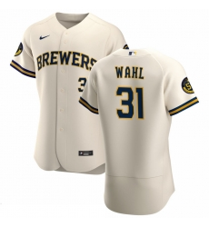 Men Milwaukee Brewers 31 Bobby Wahl Men Nike Cream Home 2020 Flex Base Player MLB Jersey
