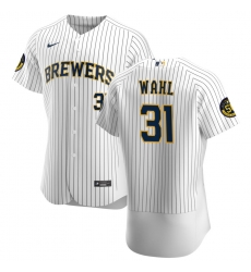 Men Milwaukee Brewers 31 Bobby Wahl Men Nike White Home 2020 Flex Base Player MLB Jersey