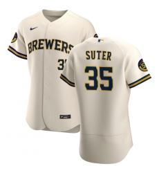 Men Milwaukee Brewers 35 Brent Suter Men Nike Cream Home 2020 Flex Base Player MLB Jersey