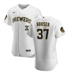 Men Milwaukee Brewers 37 Adrian Houser Men Nike White Home 2020 Flex Base Player MLB Jersey