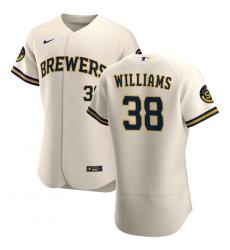 Men Milwaukee Brewers 38 Devin Williams Men Nike Cream Home 2020 Flex Base Player MLB Jersey
