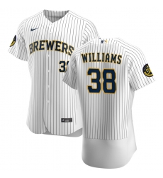 Men Milwaukee Brewers 38 Devin Williams Men Nike White Home 2020 Flex Base Player MLB Jersey