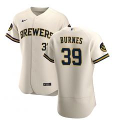 Men Milwaukee Brewers 39 Corbin Burnes Men Nike Cream Home 2020 Flex Base Player MLB Jersey