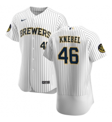 Men Milwaukee Brewers 46 Corey Knebel Men Nike White Home 2020 Flex Base Player MLB Jersey