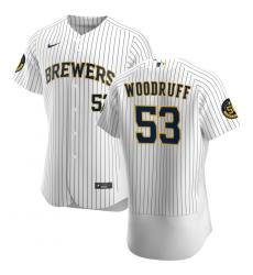 Men Milwaukee Brewers 53 Brandon Woodruff Men Nike White Home 2020 Flex Base Player MLB Jersey