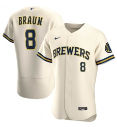 Men Milwaukee Brewers 8 Ryan Braun Men Nike Cream Home 2020 Flex Base Player MLB Jersey