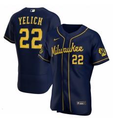 Men Milwaukee Brewers Christian Yelich Men Nike Navy Alternate 2020 Flex Base Player MLB Jersey
