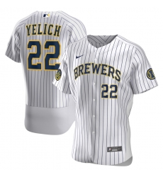 Men Milwaukee Brewers Christian Yelich Men Nike White Home 2020 Flex Base Player MLB Jersey
