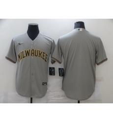 Men Nike Milwaukee Brewers Grey Blank Cool base Jersey