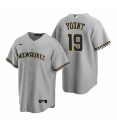 Mens Nike Milwaukee Brewers 19 Robin Yount Gray Road Stitched Baseball Jerse