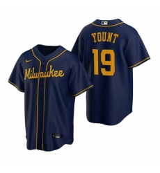 Mens Nike Milwaukee Brewers 19 Robin Yount Navy Alternate Stitched Baseball Jerse