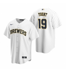 Mens Nike Milwaukee Brewers 19 Robin Yount White Alternate Stitched Baseball Jerse