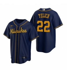 Mens Nike Milwaukee Brewers 22 Christian Yelich Navy Alternate Stitched Baseball Jersey