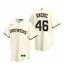 Mens Nike Milwaukee Brewers 46 Corey Knebel Cream Home Stitched Baseball Jersey