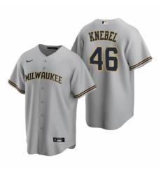 Mens Nike Milwaukee Brewers 46 Corey Knebel Gray Road Stitched Baseball Jersey