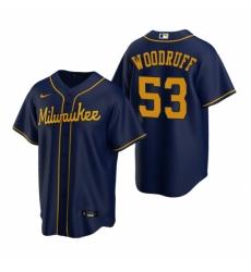 Mens Nike Milwaukee Brewers 53 Brandon Woodruff Navy Alternate Stitched Baseball Jersey