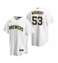 Mens Nike Milwaukee Brewers 53 Brandon Woodruff White Alternate Stitched Baseball Jersey