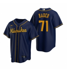 Mens Nike Milwaukee Brewers 71 Josh Hader Navy Alternate Stitched Baseball Jersey