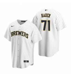 Mens Nike Milwaukee Brewers 71 Josh Hader White Alternate Stitched Baseball Jersey