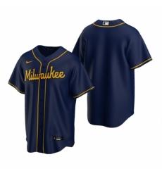 Mens Nike Milwaukee Brewers Blank Navy Alternate Stitched Baseball Jersey