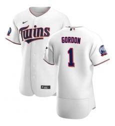 Men Minnesota Twins 1 Nick Gordon Men Nike White Home 2020 60th Season Flex Base Team MLB Jersey