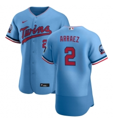 Men Minnesota Twins 2 Luis Arraez Men Nike Light Blue Alternate 2020 60th Season Flex Base Team MLB Jersey