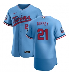 Men Minnesota Twins 21 Tyler Duffey Men Nike Light Blue Alternate 2020 60th Season Flex Base Team MLB Jersey