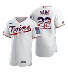 Men Minnesota Twins 22 Miguel Sano Men Nike White Fluttering USA Flag Limited Edition Flex Base MLB Jersey