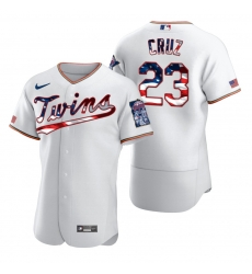 Men Minnesota Twins 23 Nelson Cruz Men Nike White Fluttering USA Flag Limited Edition Flex Base MLB Jersey