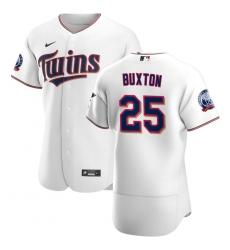 Men Minnesota Twins 25 Byron Buxton Men Nike White Home 2020 60th Season Flex Base Team MLB Jersey