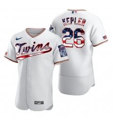 Men Minnesota Twins 26 Max Kepler Men Nike White Fluttering USA Flag Limited Edition Flex Base MLB Jersey