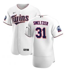 Men Minnesota Twins 31 Devin Smeltzer Men Nike White Home 2020 60th Season Flex Base Team MLB Jersey