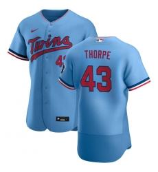 Men Minnesota Twins 43 Lewis Thorpe Men Nike Light Blue Alternate 2020 Flex Base Team MLB Jersey