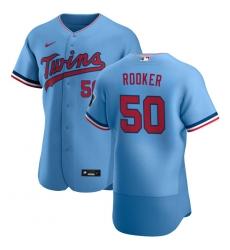 Men Minnesota Twins 50 Brent Rooker Men Nike Light Blue Alternate 2020 Flex Base Team MLB Jersey