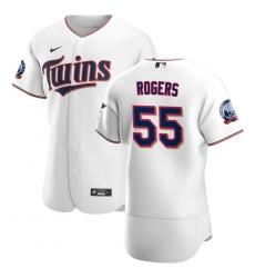 Men Minnesota Twins 55 Taylor Rogers Men Nike White Home 2020 60th Season Flex Base Team MLB Jersey