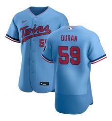 Men Minnesota Twins 59 Jhoan Duran Men Nike Light Blue Alternate 2020 Flex Base Team MLB Jersey