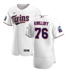 Men Minnesota Twins 76 Alex Kirilloff Men Nike White Home 2020 60th Season Flex Base Team MLB Jersey