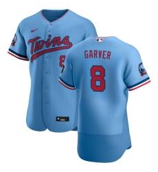Men Minnesota Twins 8 Mitch Garver Men Nike Light Blue Alternate 2020 60th Season Flex Base Team MLB Jersey