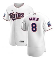 Men Minnesota Twins 8 Mitch Garver Men Nike White Home 2020 60th Season Flex Base Team MLB Jersey