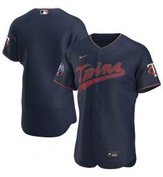 Men Minnesota Twins Men Nike Navy Alternate 2020 60th Season Flex Base Team Logo MLB Jersey