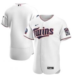 Men Minnesota Twins Men Nike White Home 2020 60th Season Flex Base Team MLB Jersey