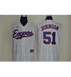 Expos 51 Randy Johnson White Nike Cool Base Sleeveless Jersey