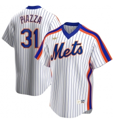 Men New York Mets 31 Mike Piazza Nike Home Cooperstown Collection Player MLB Jersey White