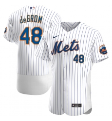 Men New York Mets 48 Jacob deGrom Men Nike White Home 2020 Flex Base Player MLB Jersey