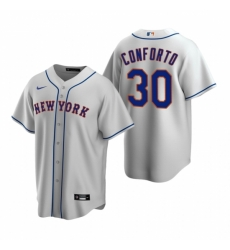 Mens Nike New York Mets 30 Michael Conforto Gray Road Stitched Baseball Jerse