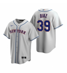 Mens Nike New York Mets 39 Edwin Diaz Gray Road Stitched Baseball Jersey