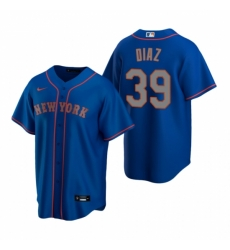 Mens Nike New York Mets 39 Edwin Diaz Royal Alternate Road Stitched Baseball Jersey
