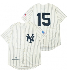 Men New York Yankees 15 Thurman Munson Cream 1969 Throwback Jersey