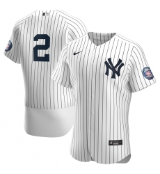 Men New York Yankees 2 Derek Jeter Men Nike White Navy 2020 Hall of Fame Induction Patch Flex Base MLB Jersey
